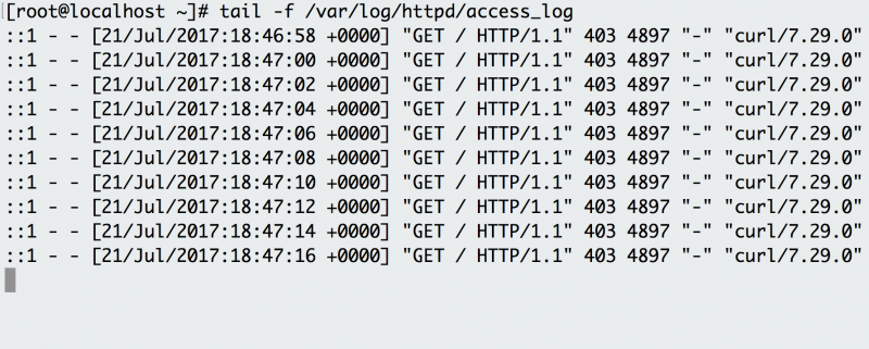 Use tail -f to follow Apache HTTP server logs and see the requests as they happen.